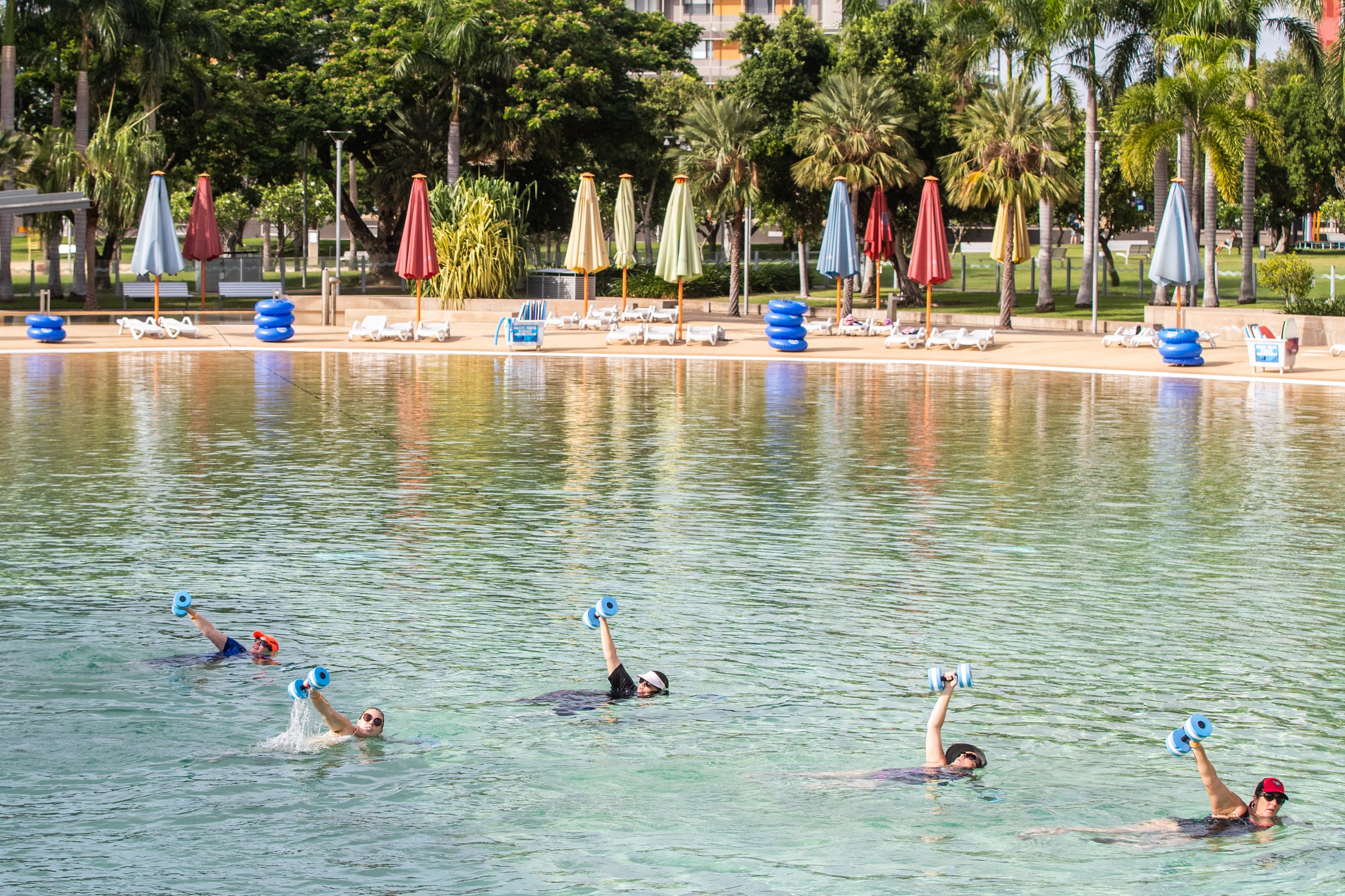 Aqua fitness in the Wave Lagoon - QLD Tourism